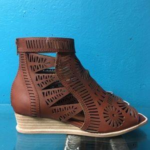 Jeffrey Campbell laser cut bootie sandals